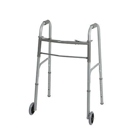 "Guardian Adult 2-Button Folding Walkers, 5"" Wheels, 32 - 39 1/2"", Case Of 4"