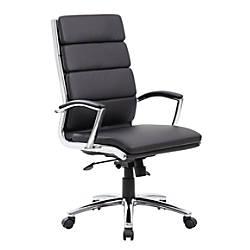 Boss Vinyl High Back Chair BlackBlackChrome