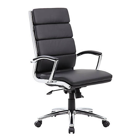 Boss Vinyl High-Back Chair, Black/Black/Chrome