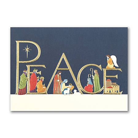 """Custom Embellished Holiday Cards And Foil Envelopes, 7-7/8"""" x 5-5/8"""", Come In Peace, Box Of 25 Cards"""