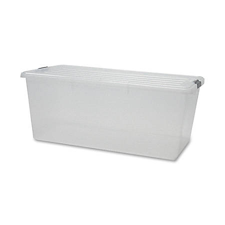 """Iris® Clear Storage Boxes With Lids, 33 1/2"""" x 17 3/16"""" x 13"""", Clear, Pack Of 4"""