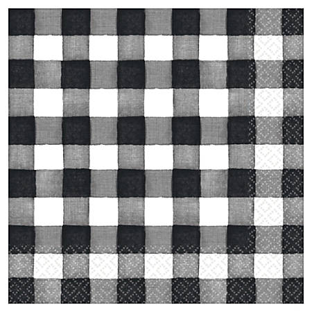 """Amscam Thanksgiving 2-Ply, 6-1/2"""", Checkered Black and White, Pack of 16 Napkins, 5 Packs Per Case"""