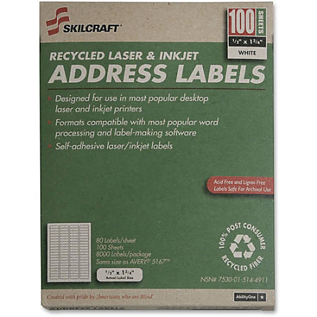 "White Laser Address Labels, NSN5144911, 1/2"" x 1 3/4"", Box Of 100 Sheets (AbilityOne 7530™01™514™4911)"