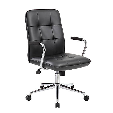 Boss Office Products Modern CaressoftPlus Mid-Back Task Chair, Black