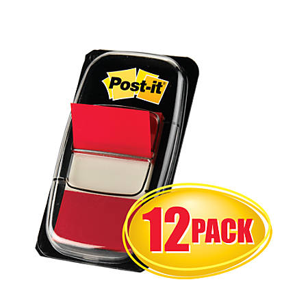 "Post-it® Flags, 1"" x 1 -11/16"", Red, 50 Flags Per Pad, Pack Of 12 Pads"