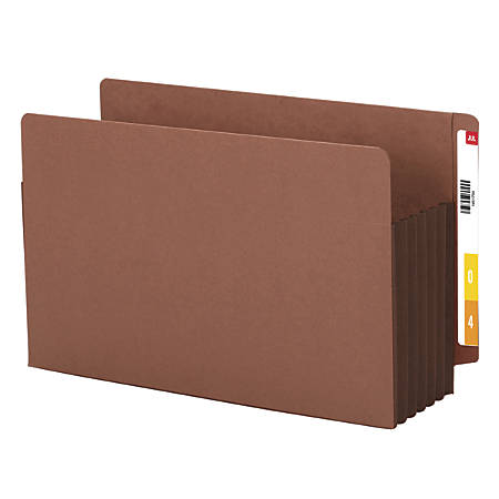 "Smead® Redrope Extra-Wide End-Tab File Pockets, Legal Size, 5 1/4"" Expansion, 30% Recycled, Dark Brown, Box Of 10"