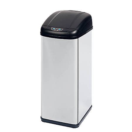 Honey-Can-Do Rectangular Steel Motion-Sensing Touchless Trash Can, 13.7 Gallons, Black/Stainless
