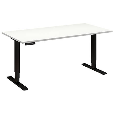 "Bush Business Furniture Move 80 Series 60""W x 30""D Height Adjustable Standing Desk, White/Black Base, Premium Installation"