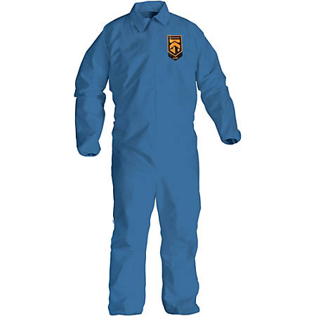 Kimberly-Clark A20 Particle Protection Coveralls - Zipper Front, Elastic Wrist & Ankle, Breathable, Comfortable - Large Size - Flying Particle, Contaminant, Dust Protection - Blue - 24 / Carton