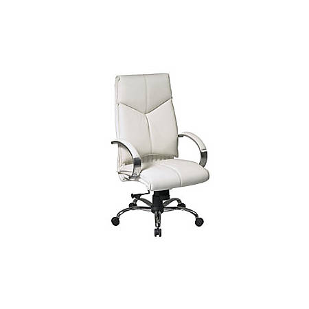 """Office Star® Pro-Line™ II Deluxe High-Back Leather Chair, 47""""H x 25 1/4""""W x 27""""D, White"""