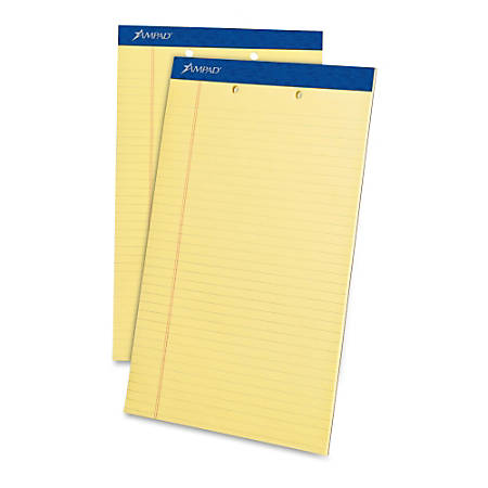 """TOPS™ 2-Hole Punched Perforated Writing Pads, 8 1/2"""" x 14"""", Legal Ruled, 50 Sheets, Canary, Pack Of 12 Pads"""