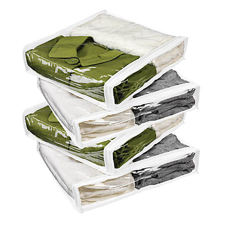 """Honey-Can-Do Zippered Storage Bags, 3""""H x 13""""W x 15 1/2""""D, Clear/White, Pack Of 4"""