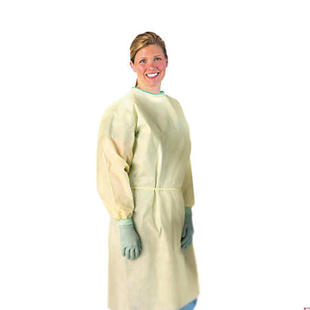 Medline AAMI Level 2 Isolation Gowns, Regular, Yellow, 10 Gowns Per Box, Case Of 10 Boxes