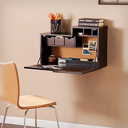 Southern Enterprises Dover Wall Mount Desk, Black/Chocolate Brown