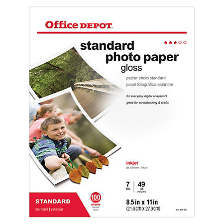 """Office Depot® Brand Standard Photo Paper, Glossy, 8 1/2"""" x 11"""", 7 Mil, Pack Of 100 Sheets"""