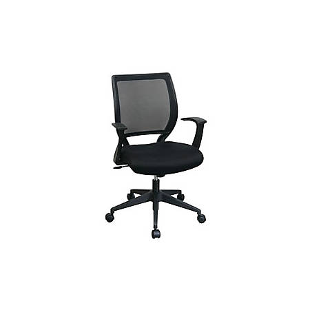 "Office Star™ Screen-Back Chair With Fixed Arms, 40 1/2""H x 24 1/2""W x 23""D, Black"