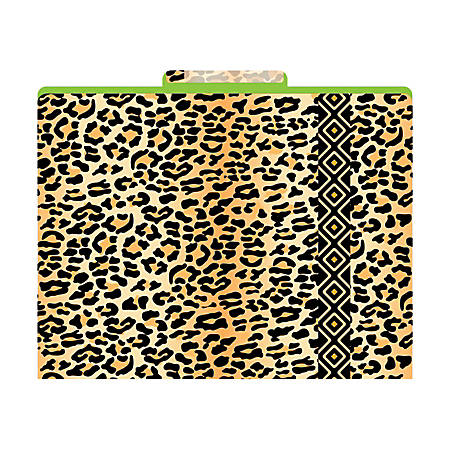 """Barker Creek Tab File Folders, 8 1/2"""" x 11"""", Letter Size, Leopard, Pack Of 12"""