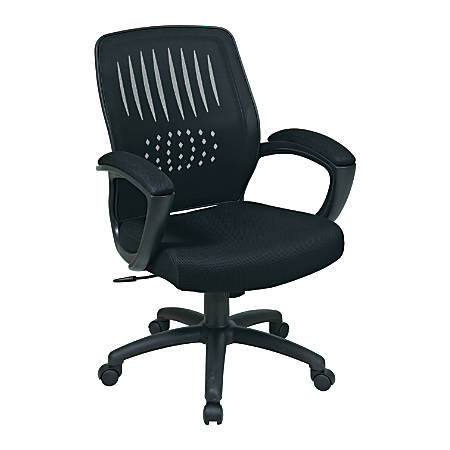 """Office Star® WorkSmart Screen-Back Chair With Mesh Seat, 42""""H x 26""""W x 25""""D, Black"""