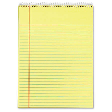 """TOPS Docket Perforated Wirebound Legal Pads - Letter - 70 Sheets - Wire Bound - 0.34"""" Ruled - 16 lb Basis Weight - 8 1/2"""" x 11"""" - 11"""" x 8.5"""" - Canary Paper - Perforated, Hard Cover, Spiral Lock, Stiff-back - 3 / Pack"""