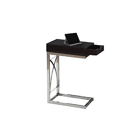 Monarch Specialties Accent/Snack Table With Drawer, Rectangle, Cappuccino/Chrome