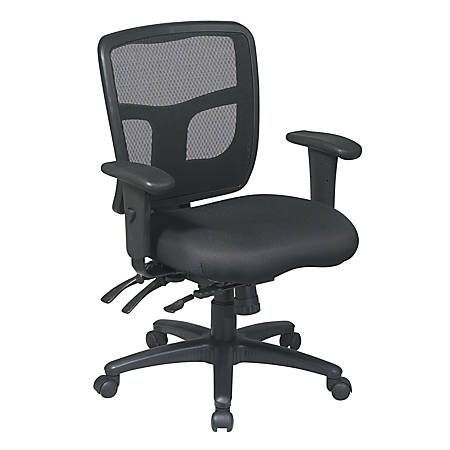"Office Star® ProGrid Mid-Back Mesh Adjustable Chair, 39""H x 26 1/2""W x 25 1/4""D, Black"