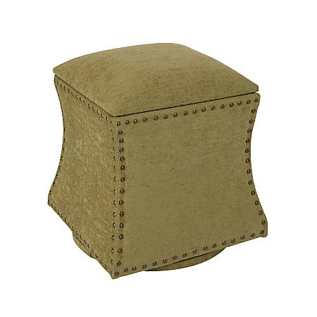 Ave Six St. James Swivel Ottoman, Olive/Silver