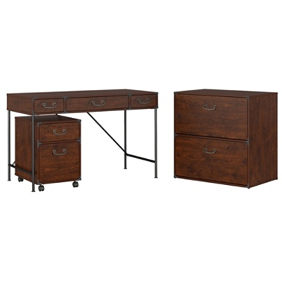 Kathy Ireland Office By Bush Furniture Ironworks 48 W Writing Desk 2 Drawer Mobile Pedestal And Lateral File Cabinet Coastal Cherry Standard Delivery