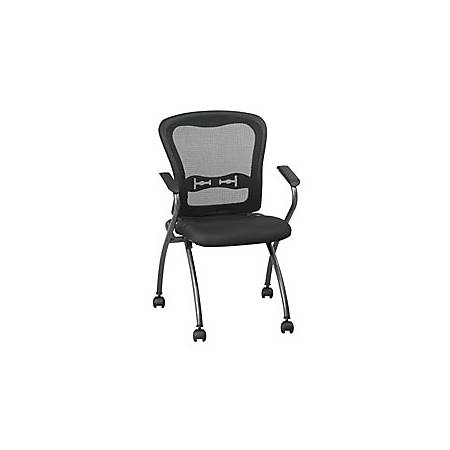 Office Star™ Pro-Line™ II Deluxe Folding Chairs With ProGrid Back, Black/Titanium, Set Of 2
