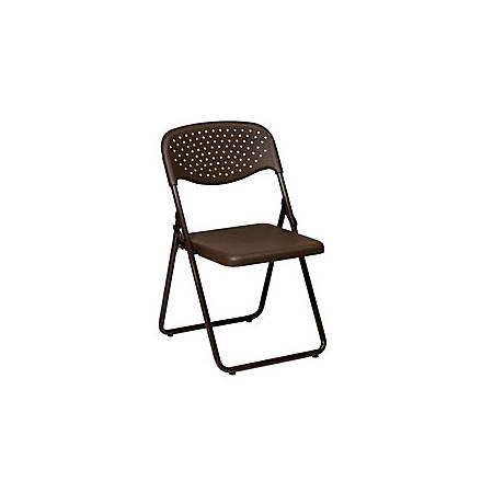 Office Star™ Stackable Folding Chairs, Mocha, Set Of 4