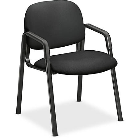 "HON Solutions Seating Guest Chair, Arms - Black Seat - Black Back - Steel Black Frame - Four-legged Base - 20"" Seat Width x 18"" Seat Depth - 23.5"" Width x 24.5"" Depth x 32"" Height"
