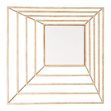 "Zuo Modern Dimension Square Mirror, 15 15/16""H x 15 15/16""W x 2 5/8""D, Gold"