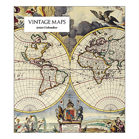 "Retrospect Vintage Maps Monthly Desk Calendar, 6-1/4"" x 5-1/2"", January To December 2020, YCD 045-20"