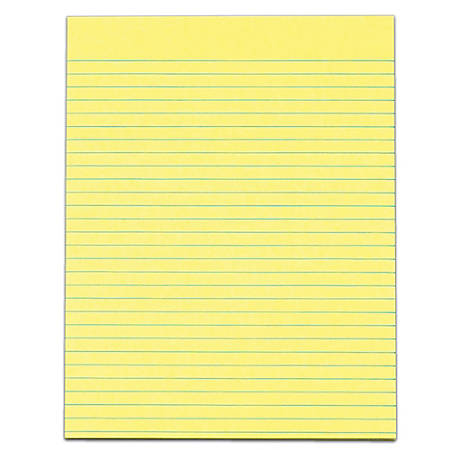 """TOPS™ The Legal Pad™ Glue-Top Writing Pads, 8 1/2"""" x 11"""", Wide Ruled, 50 Sheets, Canary, Pack Of 12 Pads"""
