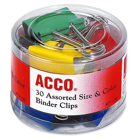 ACCO® Binder Clips, Assorted Sizes & Colors, 30/Pack - Reusable, Rust Resistant, Scratch Resistant - 30 / Pack - Assorted - Plastic, Tempered Steel