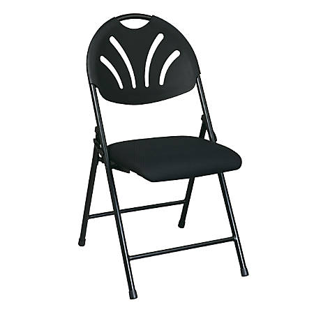 Office Star™ Fan-Back Stackable Folding Chairs, Black, Set Of 4