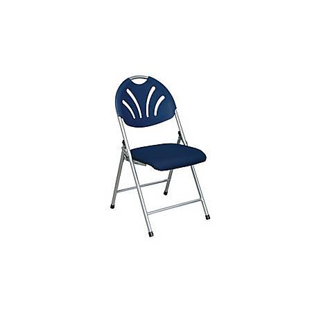 "Office Star™ 4-Pack Fan-Back Stackable Folding Chair, 35 1/2""H x 19 1/2""W x 22""D, Blue/Silver"