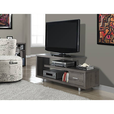 """Monarch Specialties Art Deco TV Stand For TVs Up To 60"""", Dark Taupe"""