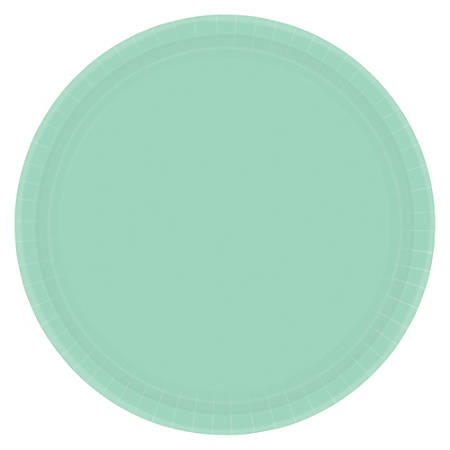 """Amscan Round Paper Plates, 7"""", Cool Mint, Pack of 120 Plates"""