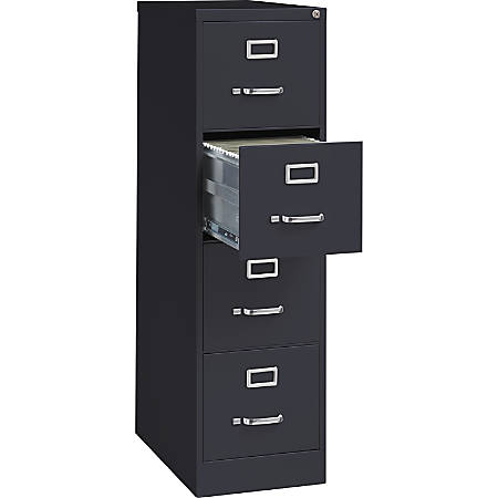 """Lorell™ Fortress Series Letter-Size Steel Vertical File Cabinet, 4-Drawer, 25""""D, Black"""