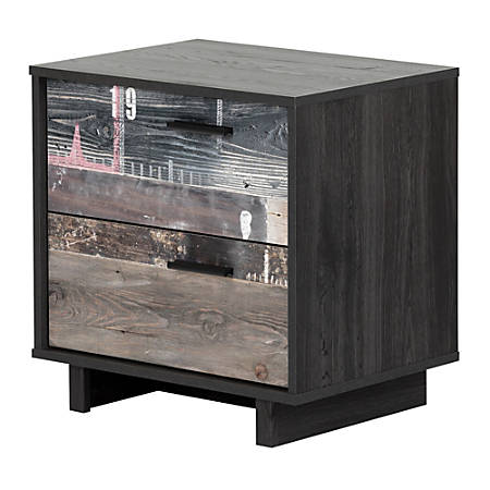 "South Shore Fynn 2-Drawer Nightstand, 22-1/4""H x 22-1/4""W x 16-1/2""D, Gray Oak/Factory Planks Effect"