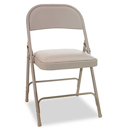 "Alera® Steel Folding Chairs With Padded Seats, 35""H x 17""W x 17""D, Tan, Carton Of 4"