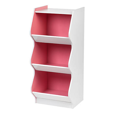 IRIS 3-Tier Curved-Edge Storage Shelf, White/Pink