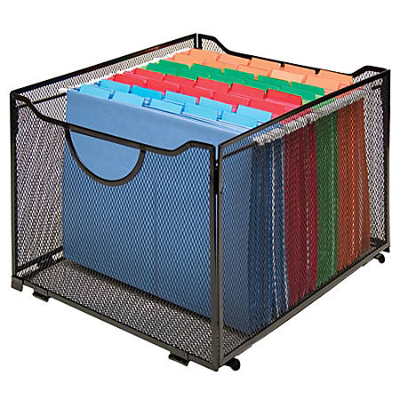 """Innovative Storage Designs Mesh Collapsible Crate, 10 7/16""""H x 13""""W x 15 1/4""""D, Black"""