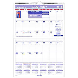 AT A GLANCE Monthly Erasable Wall
