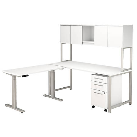 """Bush Business Furniture 400 Series 72""""W L Shaped Desk And Height Adjustable Return With Hutch And Storage, White, Premium Installation"""