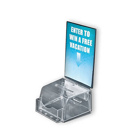 "Azar Displays Plastic Suggestion Box, Molded, Small, 3 1/2""H x 5 1/2""W x 5""D, Clear"