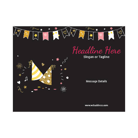Custom Flyers, Horizontal, Birthday Cap And Bunting