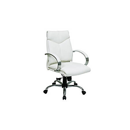 """Office Star® Pro-Line™ II Deluxe Mid-Back Leather Chair, 37 3/4""""H x 25 1/4""""W x 27""""D, White"""