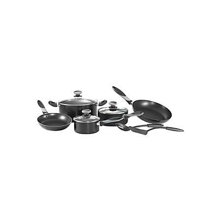 "Mirro Get A Grip Cookware - 5 quart Dutch Oven, 8"" Diameter Saute, 10"" Diameter Saute, 1 quart Saucepan, 2 quart Saucepan, Lid, Serving Spoon, Spatula - Aluminum, Nylon Spatula, Plastic, Silicone - Black - 1 Piece(s)"