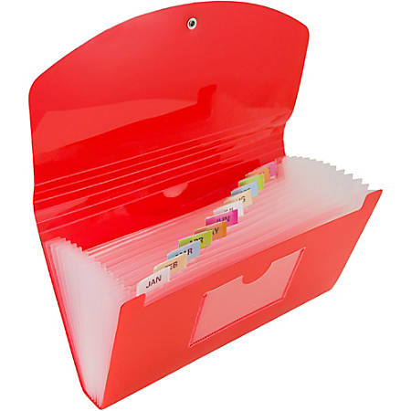 "JAM Paper® Expanding File, 6"" Expansion, 5"" x 8"", Red"